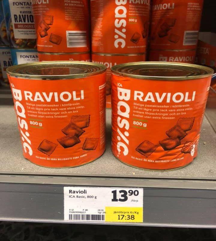 Ravioli in lattina, Svezia