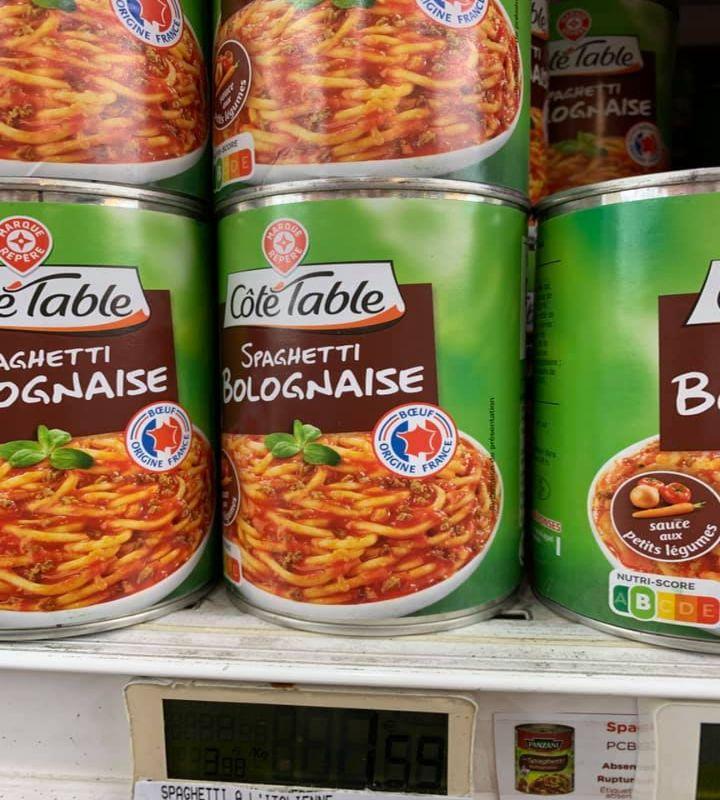 Spaghetti alla bolognese in lattina, Francia