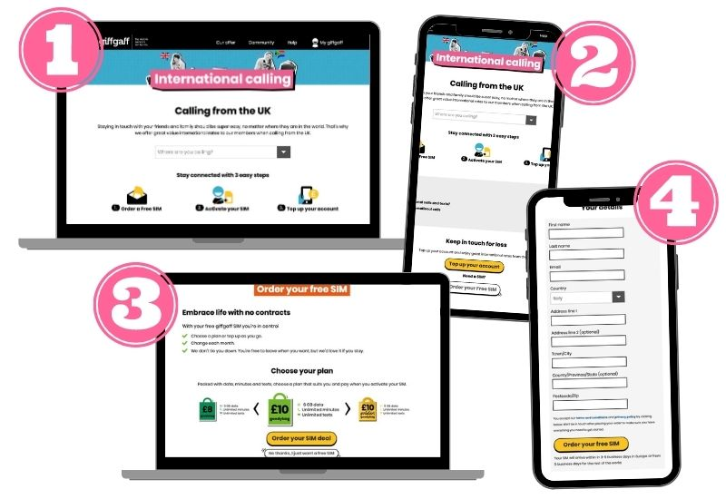 Passaggi per richiedere una sim UK giffgaff gratis