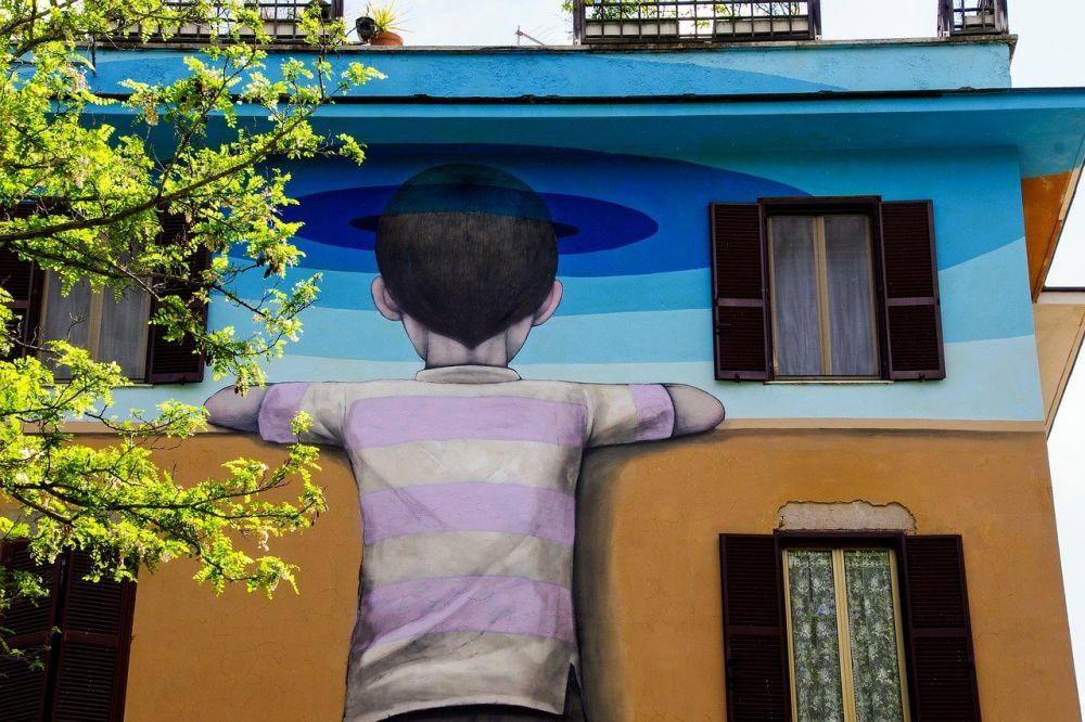 """Murales di Seth """"Il bambino redentore"""" nel quartiere di Tor Marancia a Roma, foto Giulia di Viaggiare con gli occhiali"""