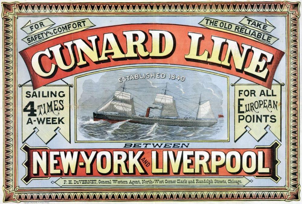 Pubblicità dei viaggi transatlantici della Cunard Line da Liverpool a New York