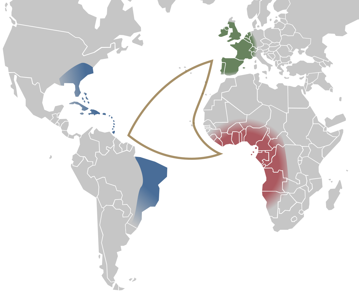 Mappa del 'triangle trade' o commercio triangolare