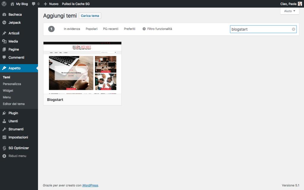 Aggiungere un nuovo tema su WordPress