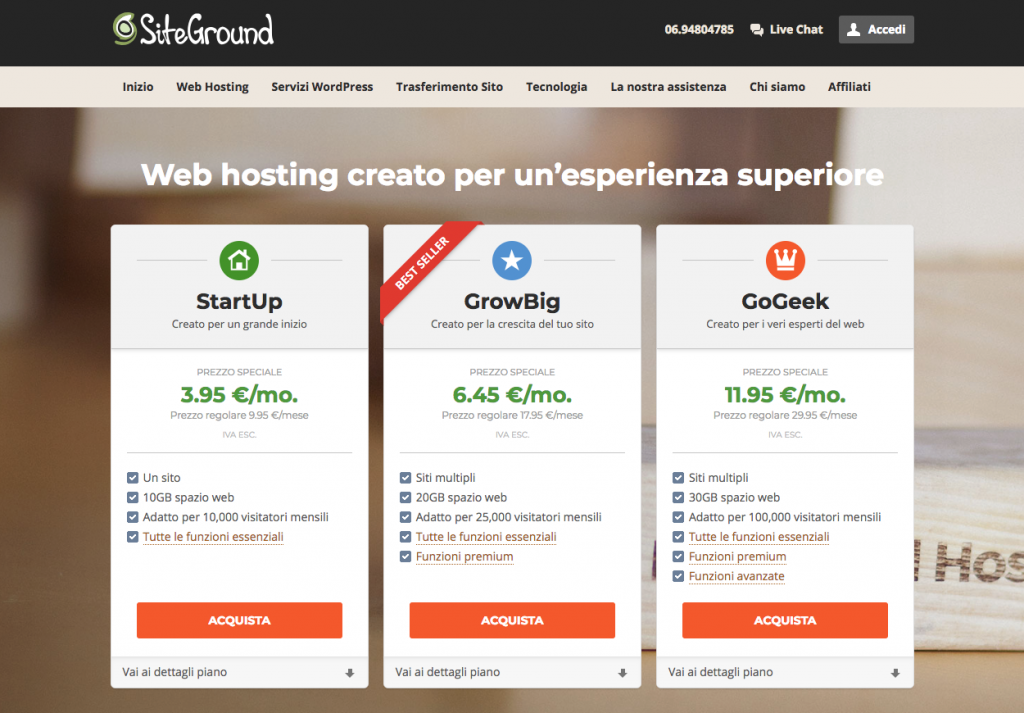 Acquisto hosting e dominio su SiteGround