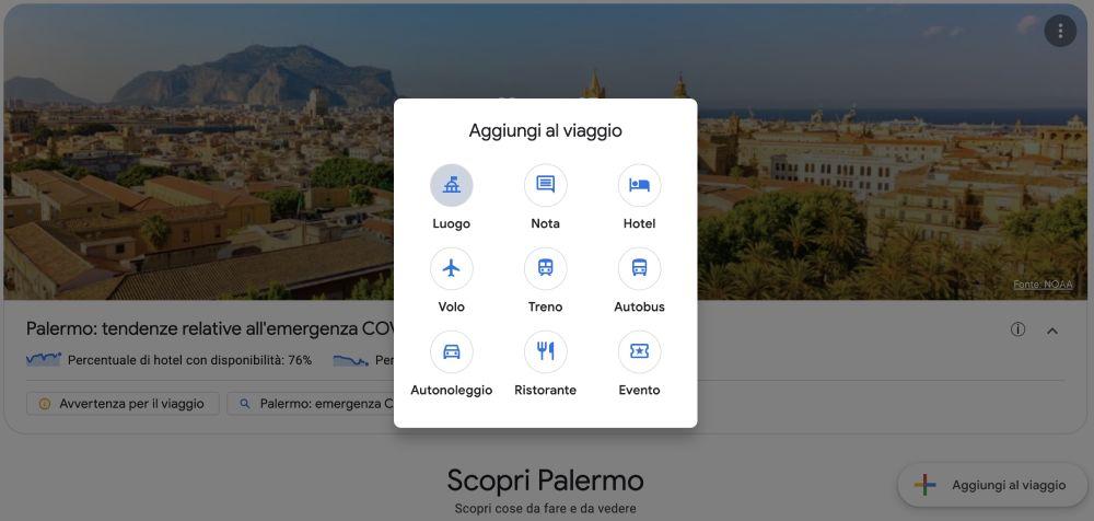 Opzione aggiungi al viaggio nel viaggio a Palermo creato con Google Viaggi