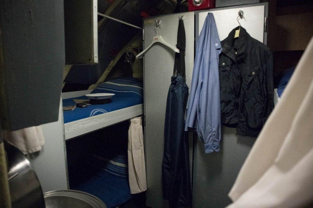 Alloggi degli ufficiali nel sottomarino Nazario Sauro al Galata Museo del Mare di Genova