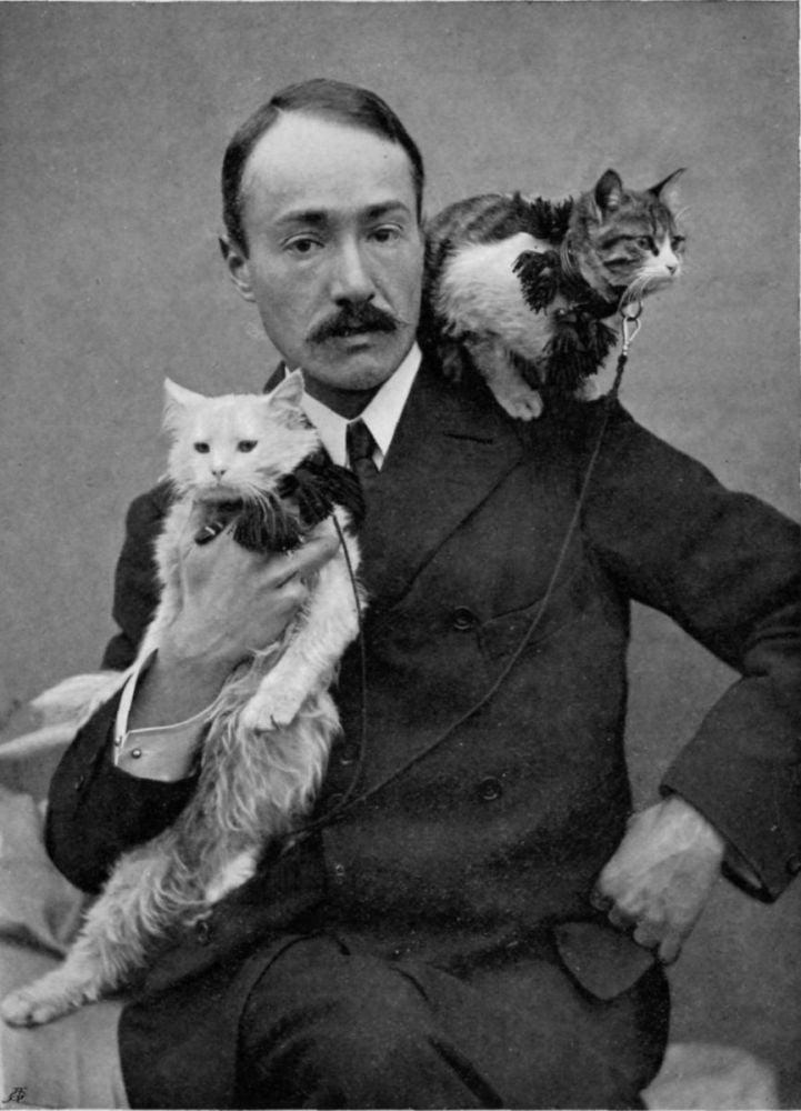 Ritratto di Arnold Henry Savage Landor con i suoi gatti