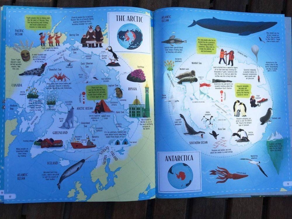 La pagina dell'Artico dell'atlante per bambini Big Picture Atlas di Usborne