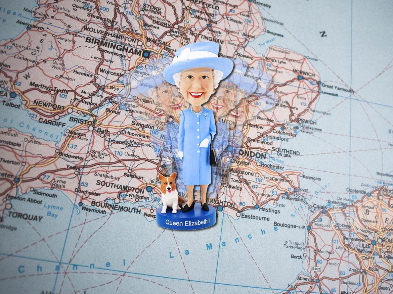 Mappa dell'Inghilterra con la regina Elisabetta II