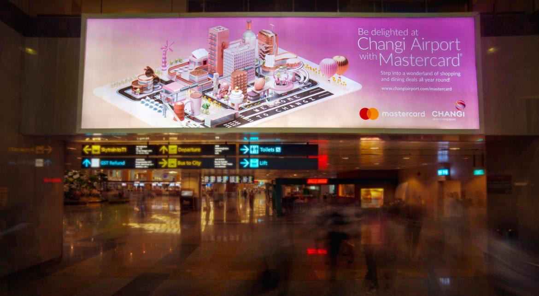 Pubblicità MasterCard al Changi Airport di Singapore