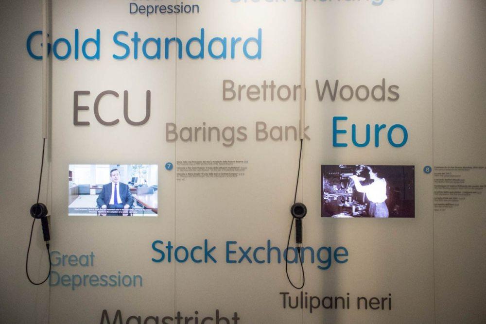 Particolare dell'allestimento del Museo del Risparmio di Torino