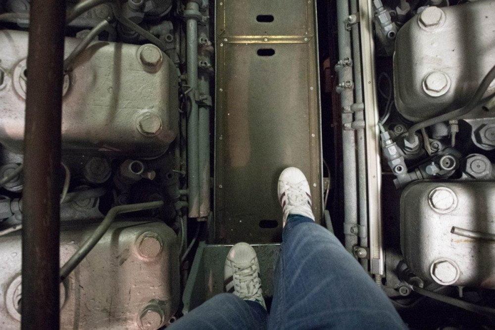 Passerella del corridoio del sottomarino Nazario Sauro al Galata Museo del Mare di Genova