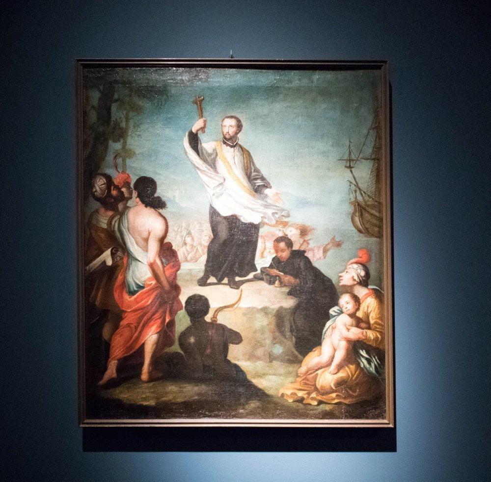 San Francesco Saverio che predica in Oriente al MUDEC Museo delle Culture di Milano, olio su tela di autore ignoto