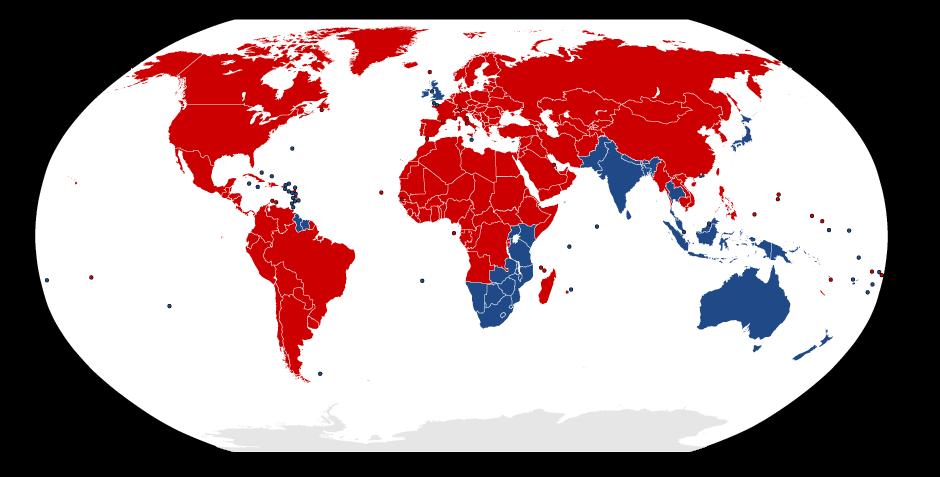 Mappa degli Stati con guida destra e guida a sinistra
