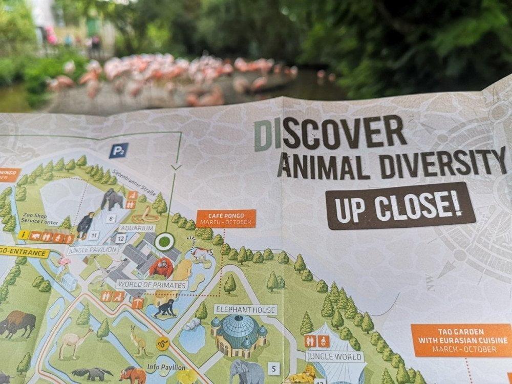Mappa dello zoo di Monaco Hellabrunn Tierpark