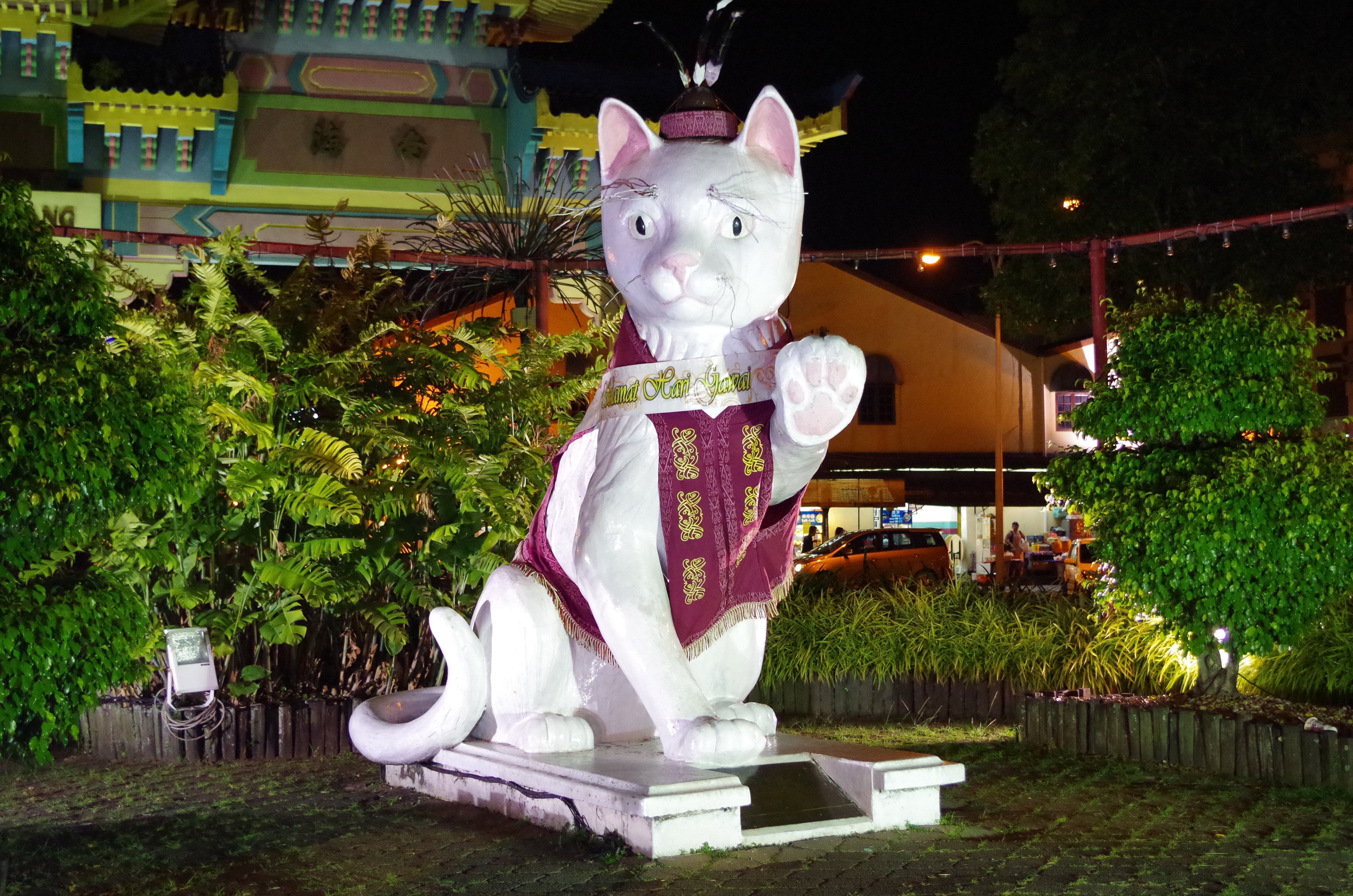 Scultura di gatto a Kuching in Malesia