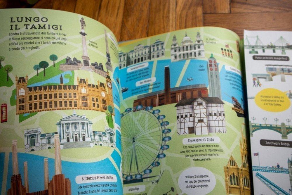 Paginone centrale con doppia apertura del libro Alla scoperta di Londra delle Edizioni Usborne