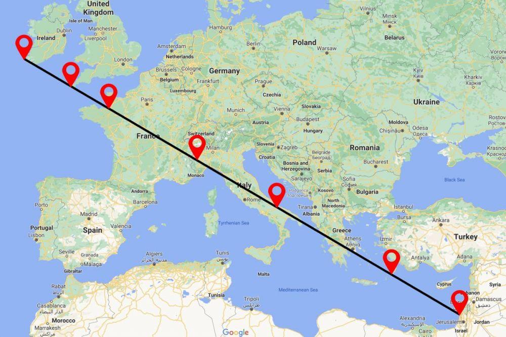 Linea di San Michele: mappa dei santuari principali sulla Via Angelica