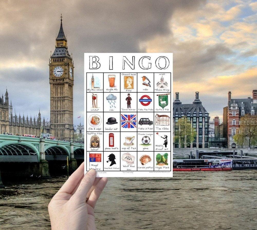 Scheda Travel Bingo di Londra di Sarah Lambert Cook