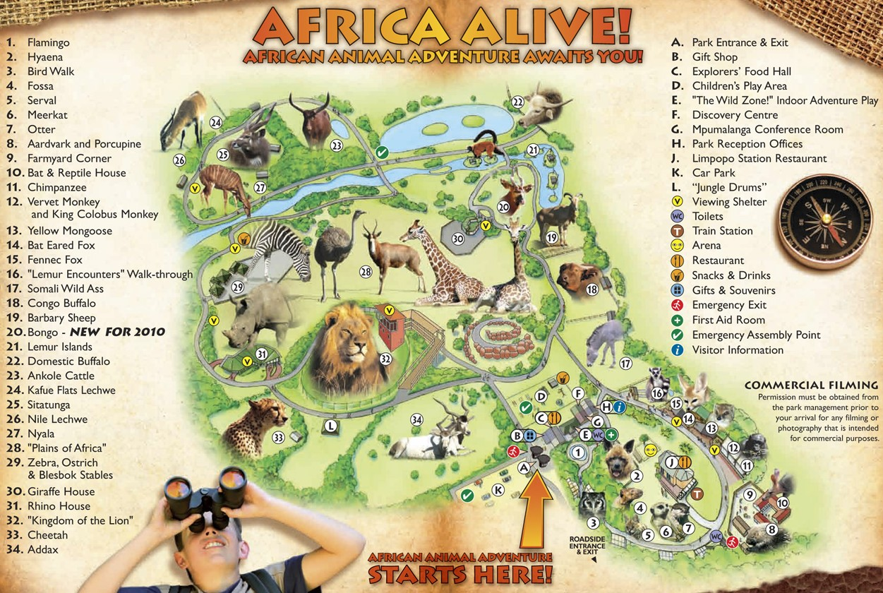 Mappa del parco Africa Alive!
