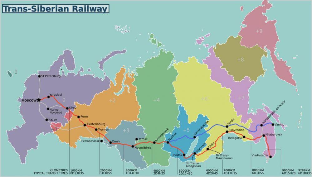 Mappa della linea ferroviaria Transiberiana da Mosca a Vladivostok