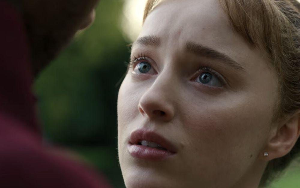 Espressione di Dafne quando il duca di Hastings le spiega come funziona la masturbazione, immagine tratta dalla serie Netflix Bridgerton