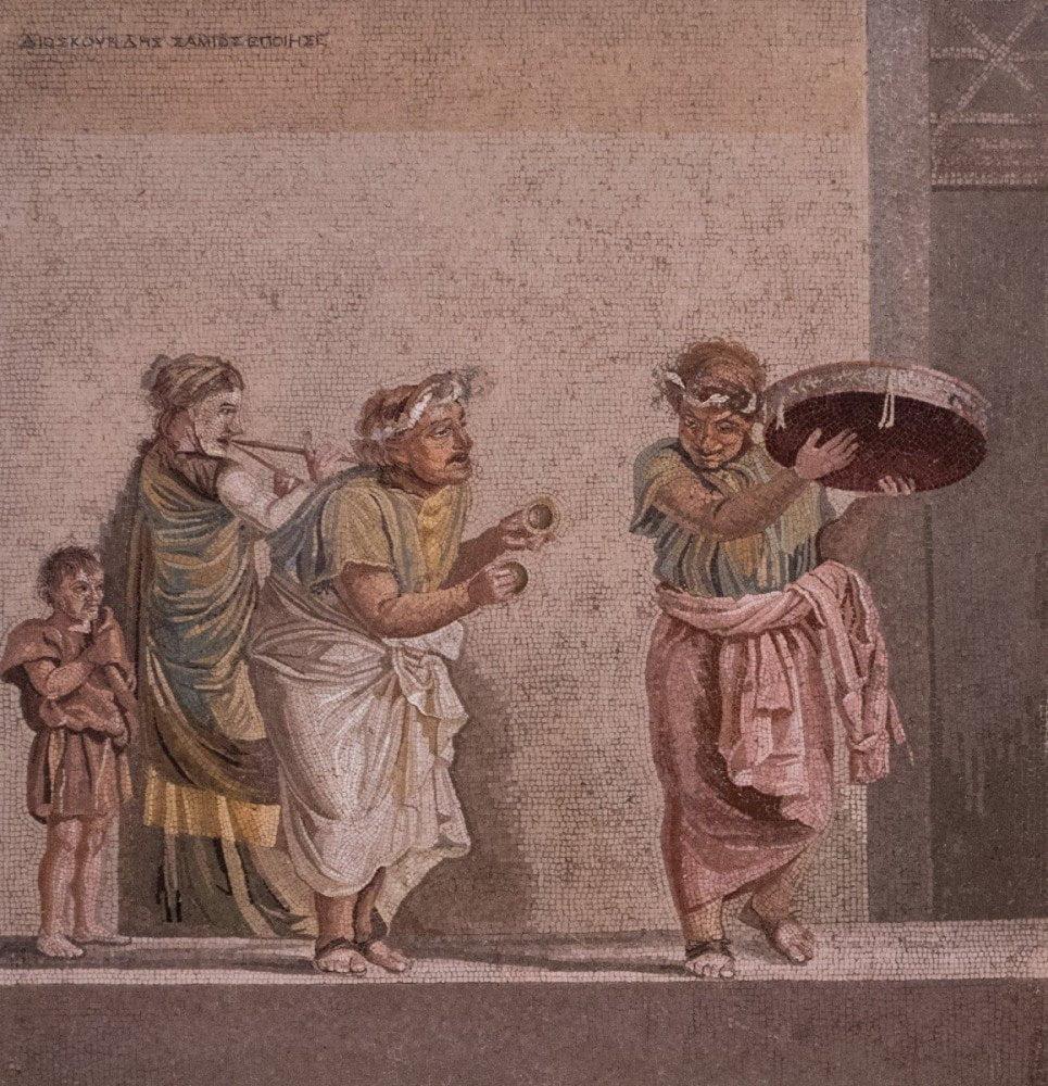Mosaico di Pompei raffigurante persone intente a suonare e ballare