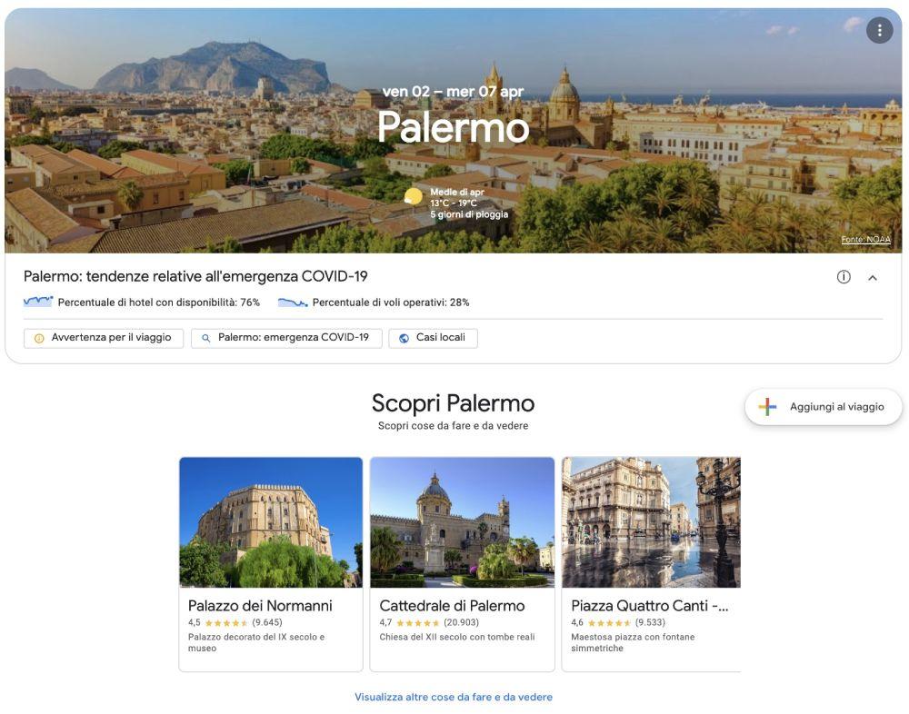 Viaggio a Palermo creato con Google Viaggi