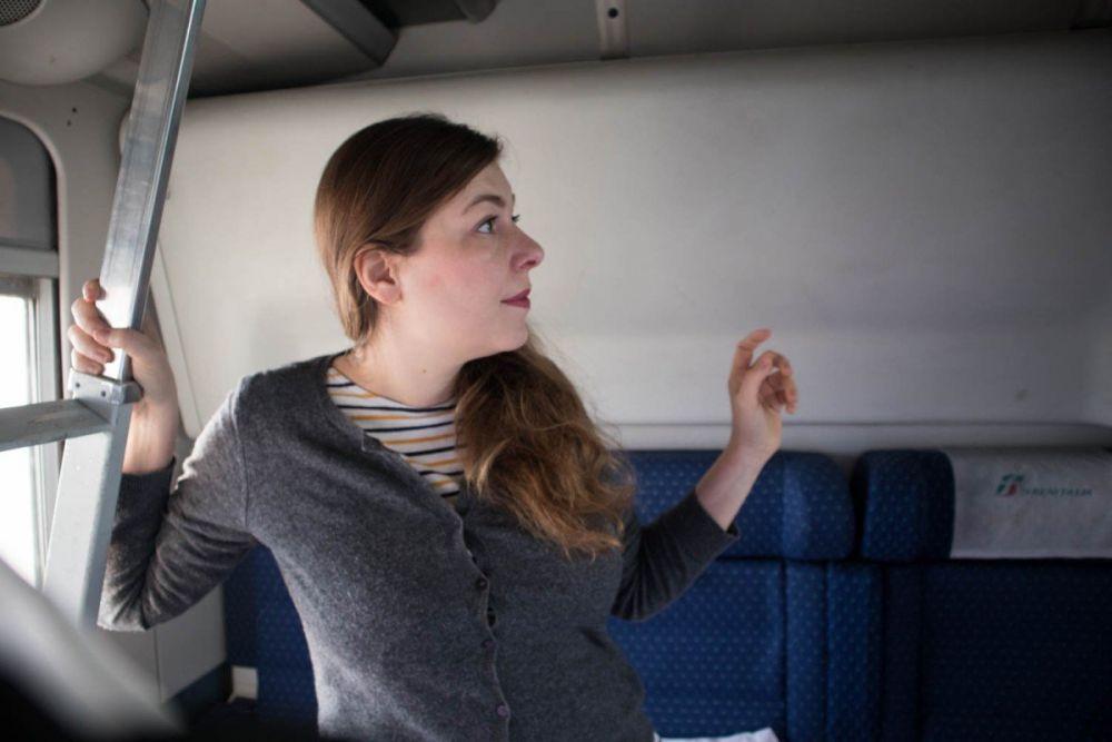 Paola Bertoni su treno Intercity Notte di Trenitalia Torino-Napoli