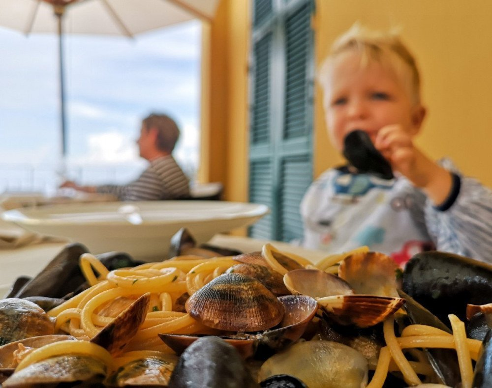 Pasta cozze e vongole al ristorante dell'hotel Cenobio dei Dogi di Camogli