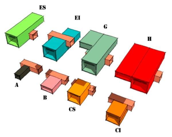 Moduli che compongono gli appartamenti dell'Unité d'Habitation di Le Corbusier a Marsiglia