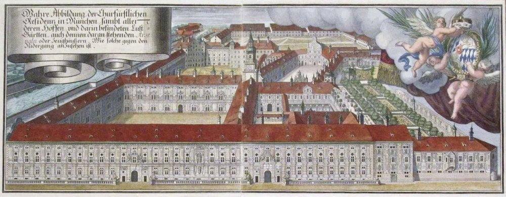 Incisione settecentesca del Munchner Residenz di Monaco di Baviera con orti e giardini
