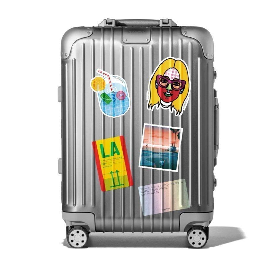 Adesivi in vinile da attaccare alla valigia a tema Los Angeles progettati dallo studio Meiré und Meiré di Colonia per Rimowa