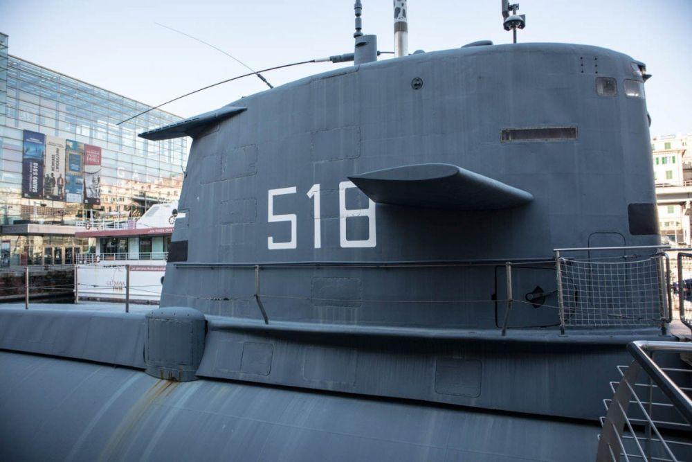 Particolare del sottomarino Nazario Sauro al Galata Museo del Mare di Genova