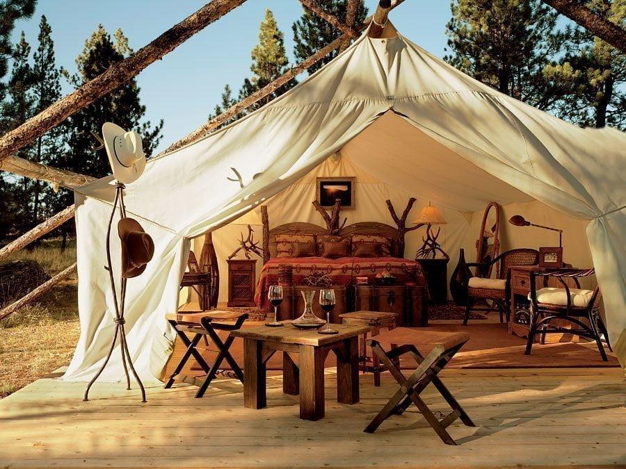 Tenda per campeggio in stile glamping