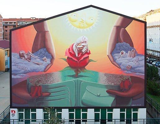 Murales Goal 1: Stop Poverty di Zed1 a Torino per il progetto di arte urbana TOward 2030