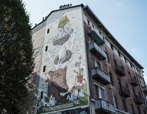 Murales Goal 11: Sustainable Cities and Communities di Ufo Cinque a Torino per il progetto di arte urbana TOward 2030