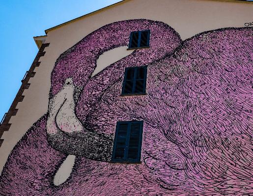 Murales Goal 7: Decent Work and Economic Growth di Oko a Torino per il progetto di arte urbana TOward 2030