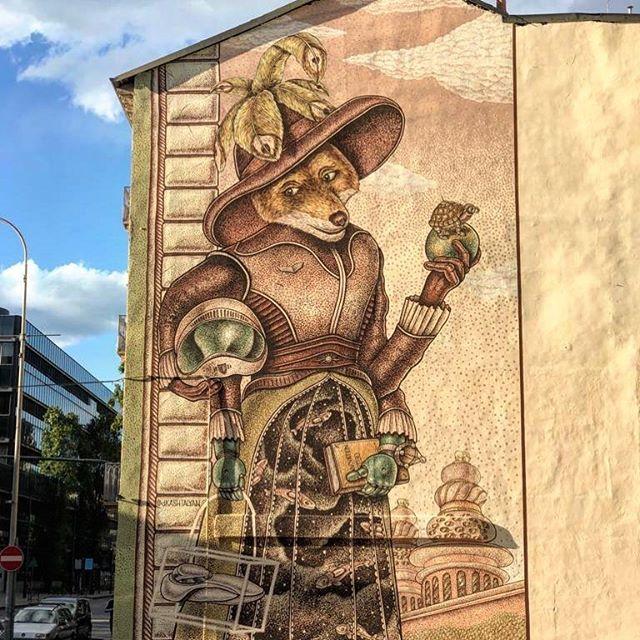 Murales Goal 9: Industry, Innovation and Infrastructure di Dzmitryi Kashtalyan a Torino per il progetto di arte urbana TOward 2030