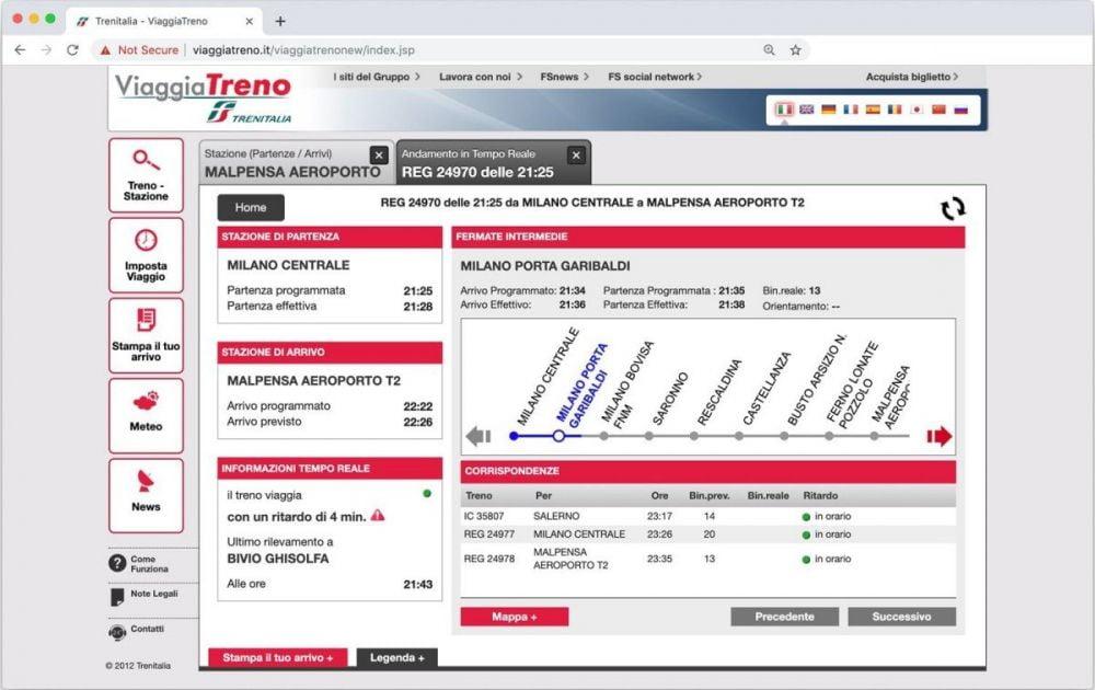 Dettaglio in tempo reale di un treno sulla linea Milano-Malpensa dal servizio ViaggiaTreno di Trenitalia