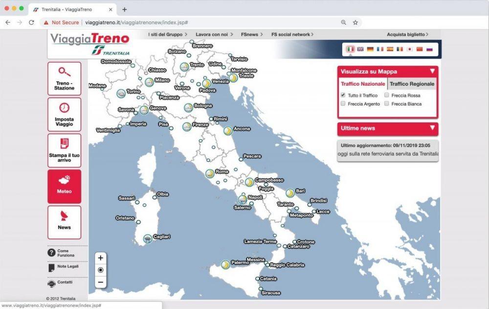Il meteo offerto dal servizio ViaggiaTreno di Trenitalia