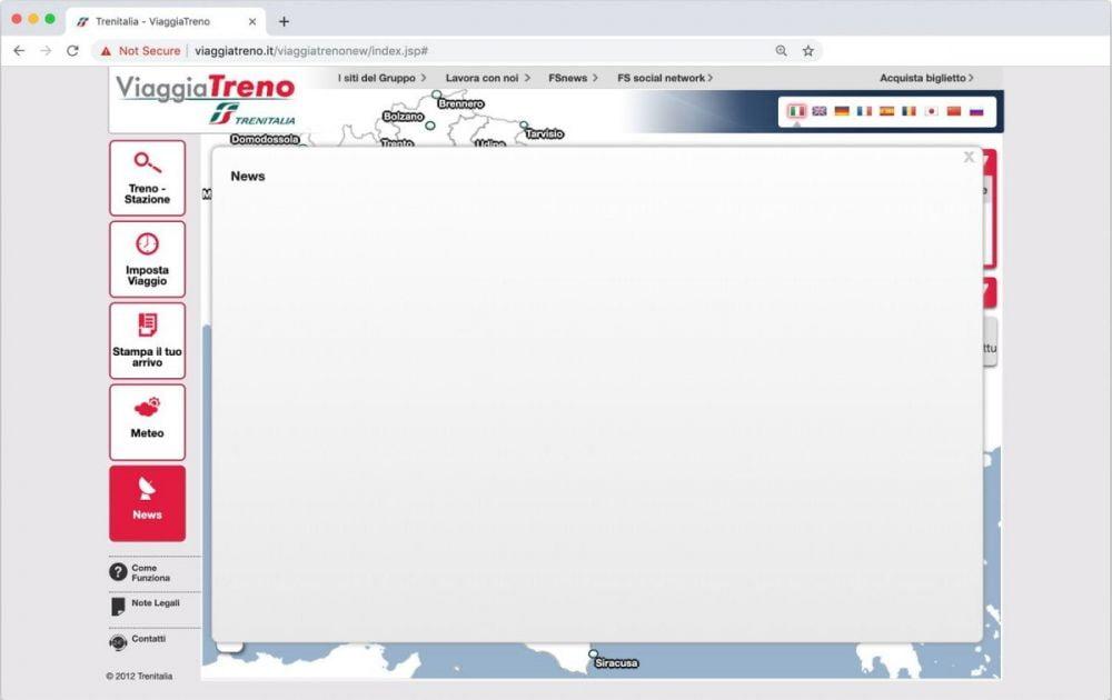 La pagina delle News del servizio ViaggiaTreno di Trenitalia quando non ci sono segnalazioni attive