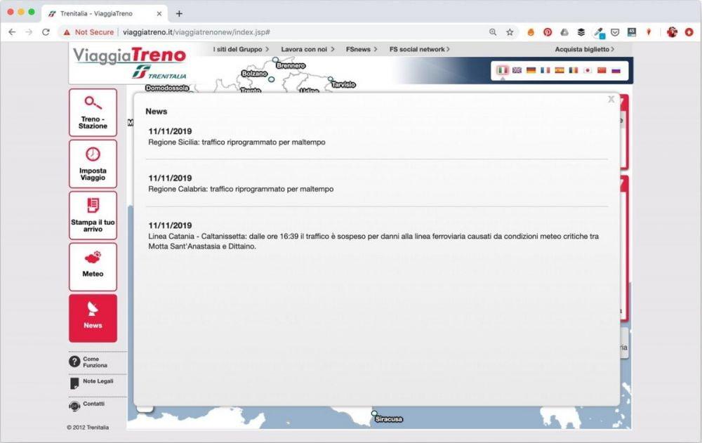 La pagina delle News del servizio ViaggiaTreno di Trenitalia quando ci sono segnalazioni di disservizi sulla rete ferroviaria
