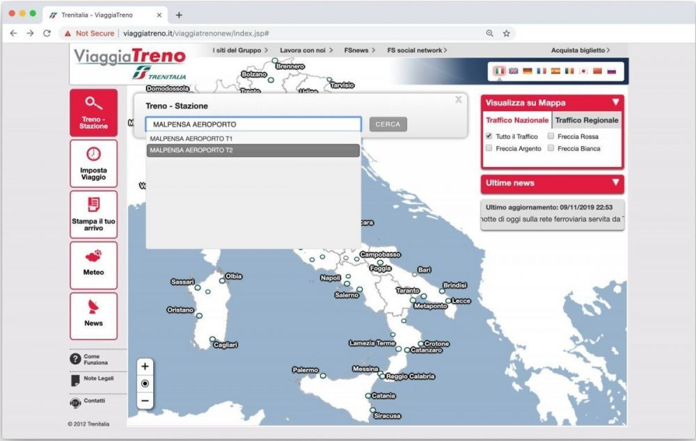 Come selezionare un treno o una stazione sul servizio ViaggiaTreno di Trenitalia