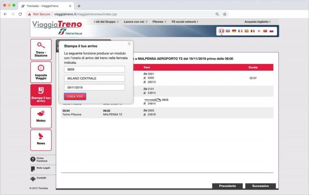La funzione Stampa il tuo arrivo del servizio ViaggiaTreno di Trenitalia