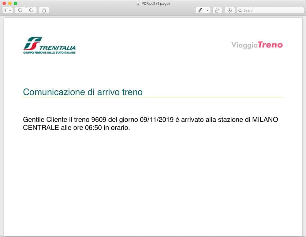 Il file PDF stampato dalla funzione Stampa il tuo arrivo del servizio ViaggiaTreno di Trenitalia