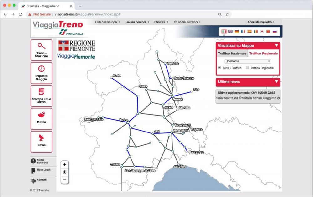 Rete ferroviaria regionale del Piemonte sul servizio ViaggiaTreno di Trenitalia