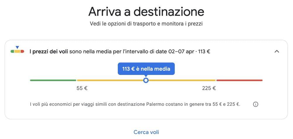 Ricerca e media dei prezzi di voli e trasporti per un viaggio a Palermo creato con Google Viaggi